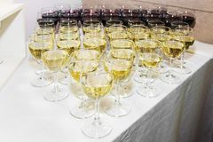 Wine glasses with red and white wine royalty free stock photo