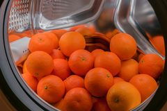 A lot of tangerines lie in the drum of a washing machine. A lot of fresh tangerines lie in the drum of a washing machine Royalty Free Stock Photography
