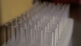 Lot of test tubes stock video footage