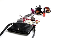 A lot of Things in Woman Purse Stock Photos