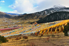 A lot of  Tibetan prayer flags flying on the hillside Stock Photography