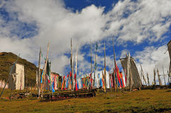 A lot of  Tibetan prayer flags flying wiht Mandala on the hillside Stock Image