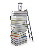 Lot of time to read books on a white background. 3d rendering Stock Photo