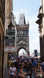 A lot of tourists in Prague in the summer Stock Photography