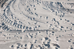 A lot of tracks in sand Stock Photo