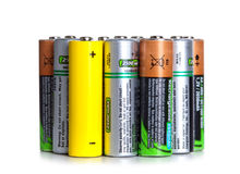 Lot of used batteries Stock Photos