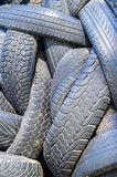 A lot of used car and truck tires Stock Photos