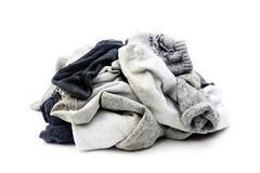 A lot of used socks isolated on white stock photography