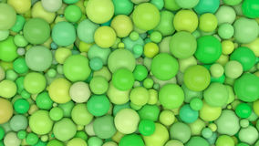A lot of variation green color balls. 3D rendering. Abstract background Royalty Free Stock Image