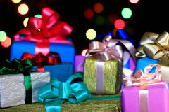 Lot of varicolored gifts  boxes Stock Photos