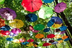 A lot of varicoloured umbrellas Royalty Free Stock Image