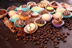 a lot of variety chocolate pralines, belgian confectionery gourmet chocolate. royalty free stock photo