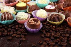 a lot of variety chocolate pralines, belgian confectionery gourmet chocolate. royalty free stock photography