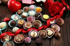 A lot of variety chocolate pralines, belgian confectionery gourmet chocolate stock photography