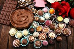 A lot of variety chocolate pralines, belgian confectionery gourmet chocolate stock photo