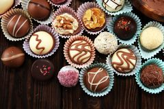 A lot of variety chocolate pralines, belgian confectionery gourmet chocolate stock photos