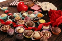 A lot of variety chocolate pralines, belgian confectionery gourmet chocolate stock image