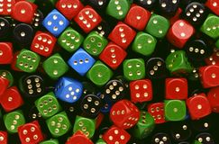 A lot of various dices. In a mess Stock Image