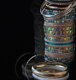Lot of various jewelry bracelets Stock Image