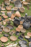 Lot of vases. Lot of clay vases on the grass Royalty Free Stock Photos