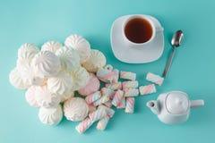 Lot of vibrant marshmallow on aquamarine background Stock Images