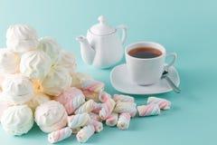 Lot of vibrant marshmallow on aquamarine background Stock Photo