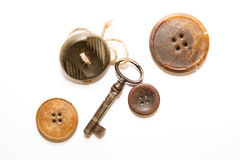 A lot of vintage button, Old key with affection for him a button Royalty Free Stock Images