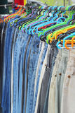 A lot vintage jeans with seams for sale Stock Photography