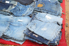 A lot vintage jeans with seams for sale Royalty Free Stock Images
