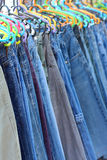 A lot vintage jeans with seams for sale Stock Image