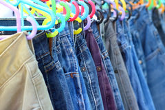 A lot vintage jeans with seams for sale Royalty Free Stock Photo