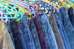 A lot vintage jeans with seams for sale Stock Images