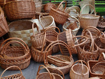 A lot of vintage weave wicker baskets Royalty Free Stock Photography