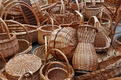 A lot of vintage weave wicker baskets Royalty Free Stock Images