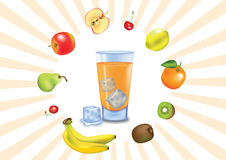 A lot of VitaminC. Illustrated glass of juice with fruits all around it Royalty Free Stock Image