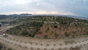 Lot w zmierzch przy morzem - Powietrzny lot, Mallorca zbiory