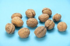 A lot of walnuts on a blue background. Food for the brain. Healthy food stock photo