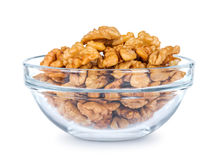 A lot of walnuts in a glass bowl Stock Photography