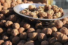 A lot of walnuts in a pile royalty free stock photo