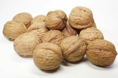 Nuss -. A lot of walnuts on white Royalty Free Stock Photography
