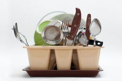 Lot of washed dishes Stock Photography