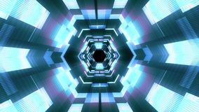 Lot wewnątrz za neonowych świateł cyber dane vr ruchu grafika animacji tła heksagonalnej tunelowej bezszwowej pętli nowej ilości zbiory wideo