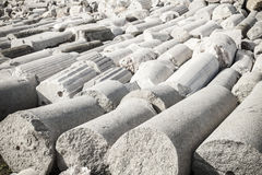 A lot of white ancient columns lay in Smyrna. Izmir, Turkey Royalty Free Stock Images