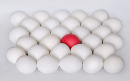 A lot of white boiled eggs and one red, background Royalty Free Stock Photography