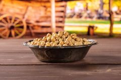Raw chickpeas kabuli with cart Stock Photography
