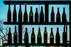 A lot of wine bottle silhouette royalty free stock photos