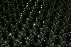 A lot of Wine Bottles. Hundreds of empty Wine Bottles Royalty Free Stock Photos