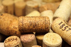 A lot of wine corks. For a beautiful background Stock Photos