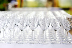A lot of wine glasses Stock Photos