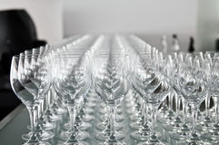A lot of wine glasses Stock Photography